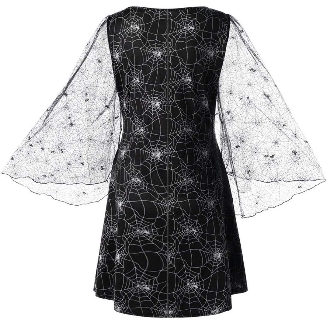 Vestido de Estilo Web de araña de Halloween, Covermason Vestido Estilo Web de araña Vestido de Malla de Malla Vestido de Manga Larga Estampado: Amazon.es: ...