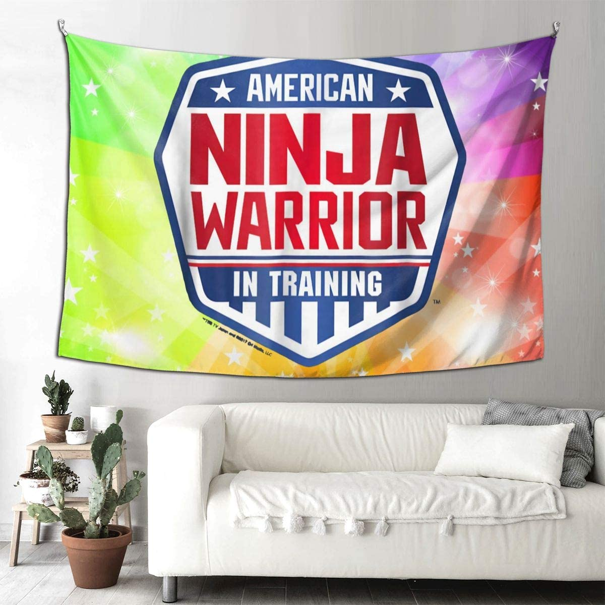 Ninja Warrior in Training American Tapestry Wall Hanging Tapestry for Room 9060inch
