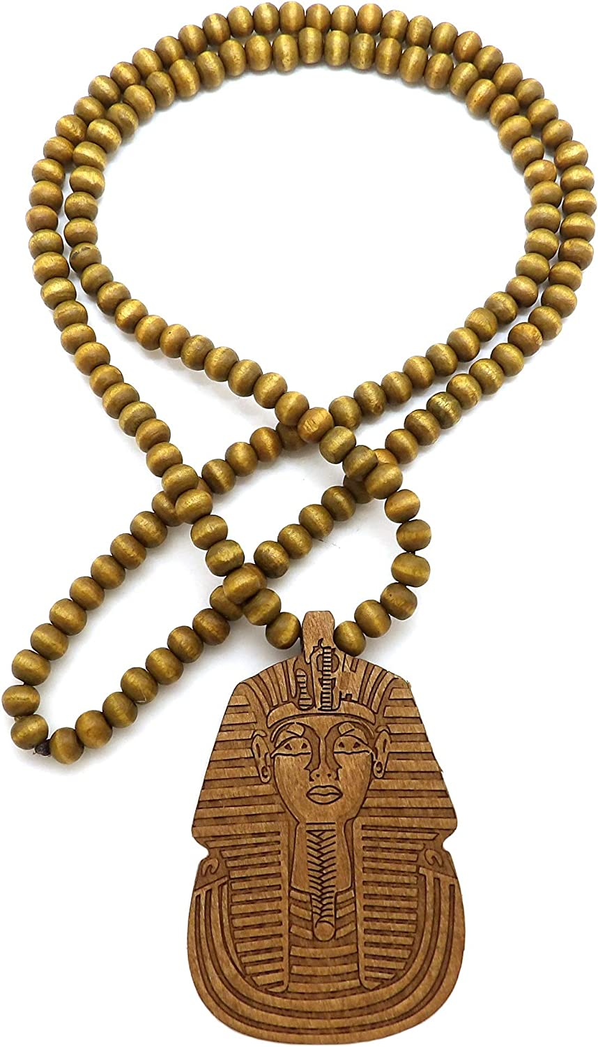 Natural Tone Fashion 21 Egypt King Pharaoh Pendant 6mm 30 Wooden Bead Necklace in Black Brown
