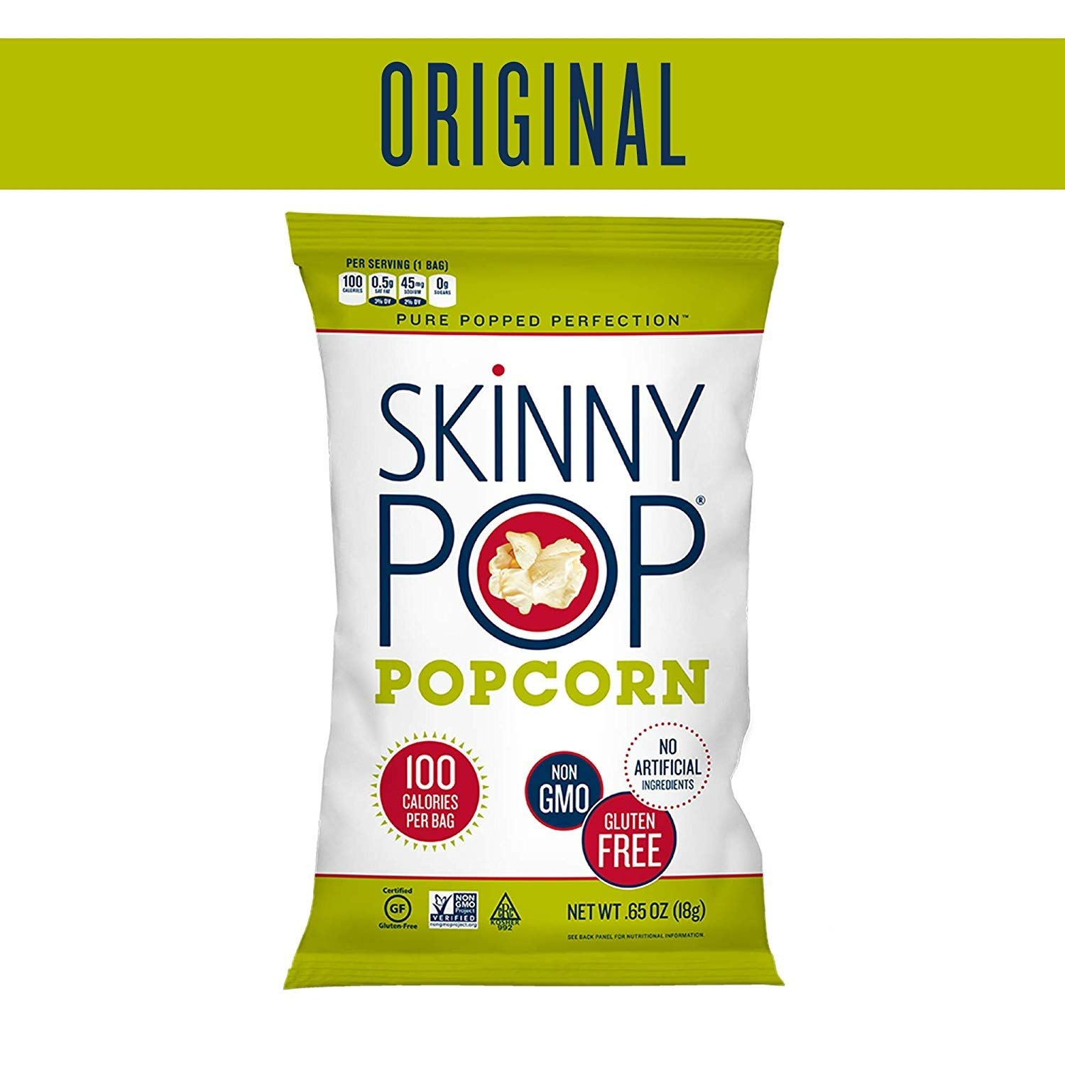 100% natural Gluten free Zero trans fat ,Popcorn Snack Bags 0.65 Ounce/ by SkinnyPop
