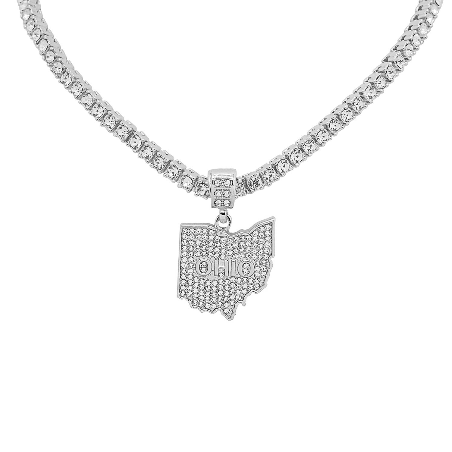 White Gold-Tone Hip Hop Bling Simulated Crystal The Buckeye State Ohio Map Pendant with 24 Tennis Chain and 24 Rope Chain
