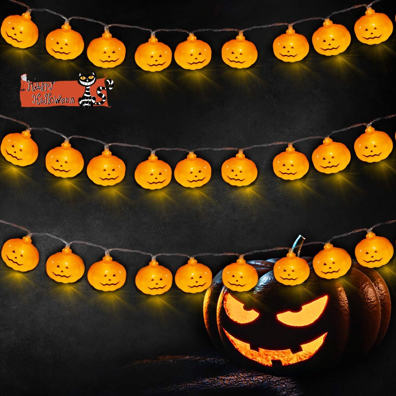 SAMYERLEN 20LED Pumpkin String Lights, Halloween Lights Battery Operated String Lights, Outdoor & Indoor Parties Home Bedroom Halloween Decoration, 2 Modes Flickering/Stability.