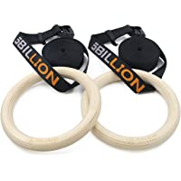 Wood Gymnastic Rings - 28mm/32mm Dia - Olympic Gym Rings for Home Gym & Fitness - Great for Your Muscle Building, Ab Workout & Strength Training