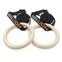 5billion madera–Anillas de gimnasia–32mm/28mm de diámetro–anillos de gimnasia para Fitness y gimnasio en casa–gran para su construcción muscular, Ab entrenamiento y entrenamiento de fuerza