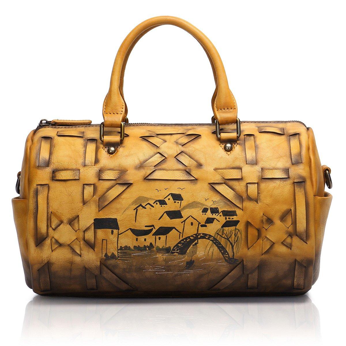 APHISON Designer Soft Leather Totes Handbags for Women, Ladies Satchels Shoulder Bags 8145 (BROWN)