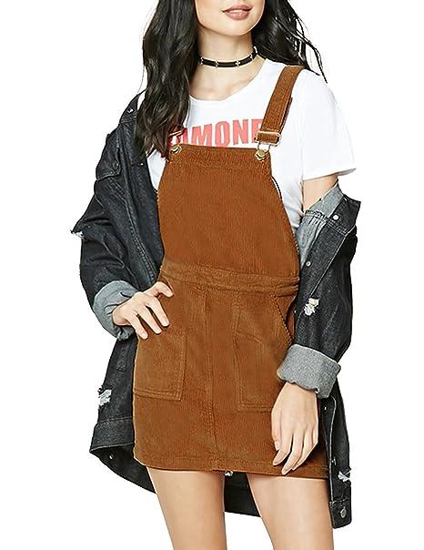 8637ea53a0f wenxuan Women s Corduroy Suspender Skirt Overall Mini Dress (Small)