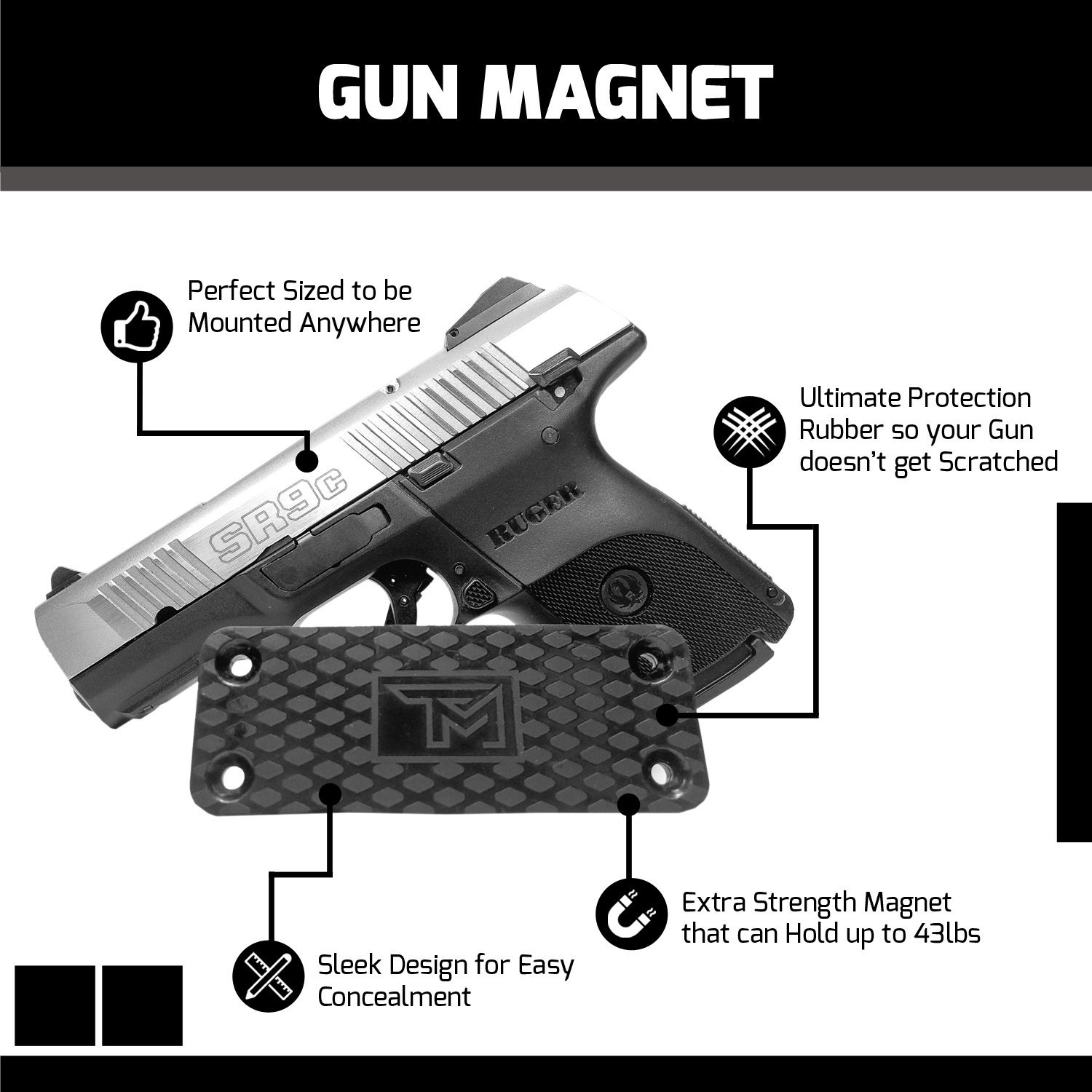 TM Outdoors Ultra-Powerful Ultra-Strong Hold Gun Magnet -Gun Accessory -Convenient and Sturdy Gun Storage  Organizer on Any Surface -Light to Heavy Gun Holder Up To 43 Pounds by TM Outdoors (Image #3)