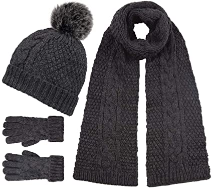 7e46634545814 Boardman Knit Bobble Hat Bundle with Matching Scarf and Gloves (3 Items) in  Grey
