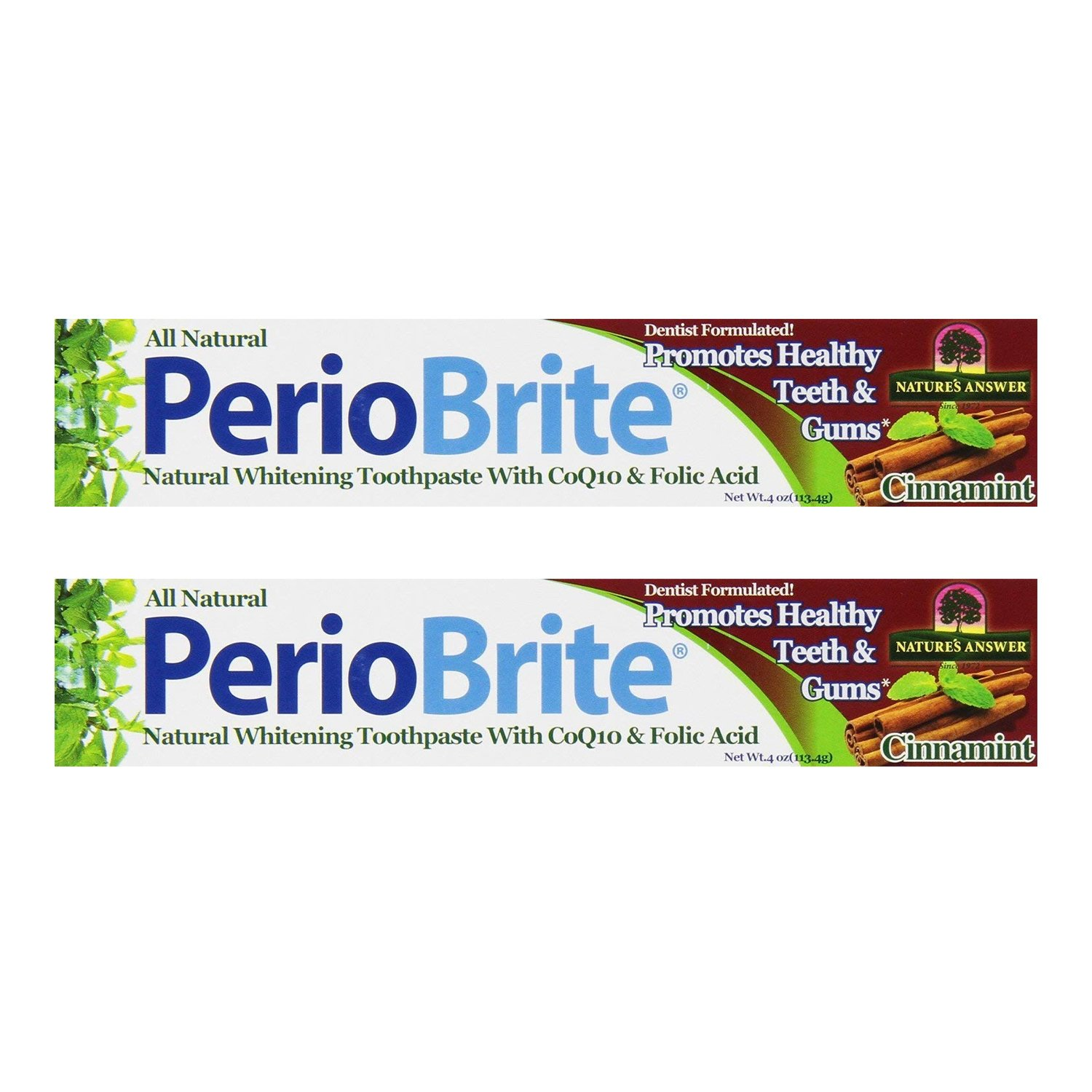 Natures Answer Periobrite Cinnamint Toothpaste - 4 Ounces, 2 Pack