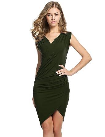 cooshional Damen SEXY Kleid partyKleid V-Ausschnitt Knielang abendkleid kurz