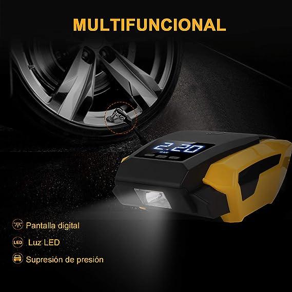CATUO Compresor de Aire para Coche con Pantalla Digital Auto Apagado,Luz LED, 12V,150PSI, 2,8m Cable con Mechero para Vehículos, Neumáticos, Pelotas, Objetos hinchables: Amazon.es: Coche y moto
