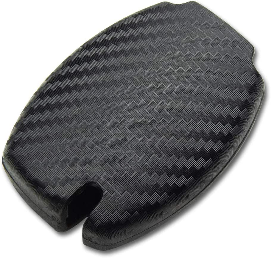 TANGSEN Smart Key Fob Case Cover for Mercedes Benz A B C CLA CLS E G GL GLA GLC GLE GLK GLS GT M R S SL SLC SLK SLS Class AMG Viano 3 Button Keyless Entry Remote 3D Carbon Fiber Plastic Silicone