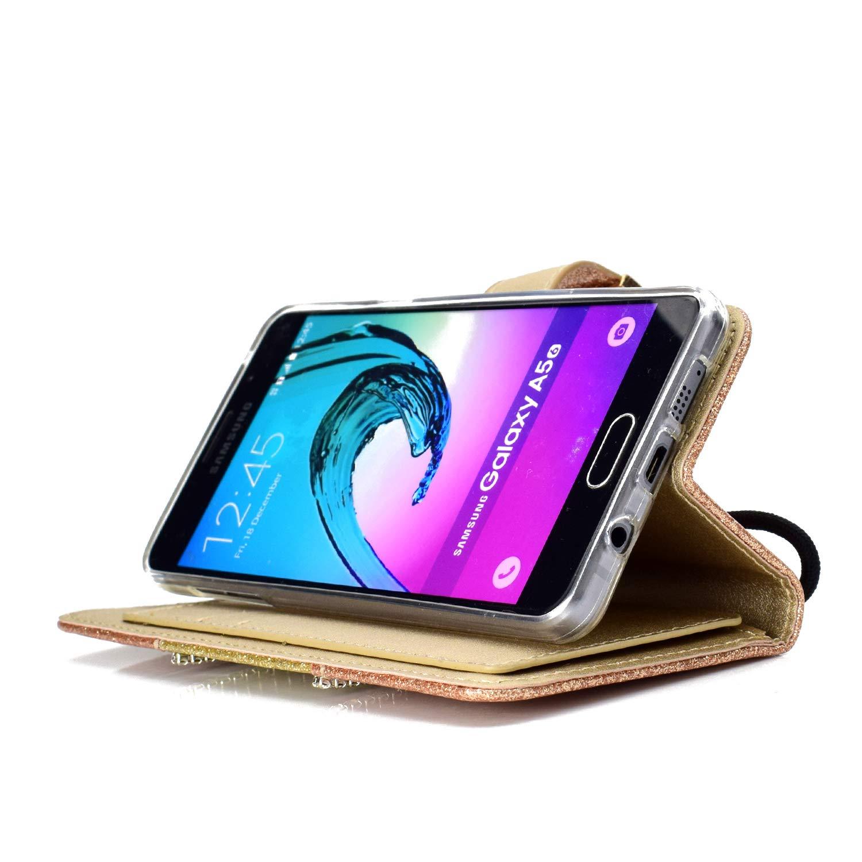 Ultra Slim Portefeuille Bling Flip PU Cuir Glitter Paillette Strass avec Miroir Fonction Support Antichoc Coque pour Samsung Galaxy A3 2016-Noir SainCat Coque Galaxy A3 2016