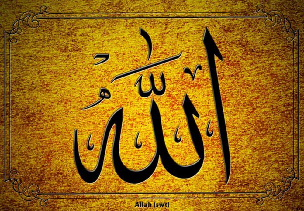 ☪ Sch/öner Anh/änger Frauen muslimischen in Form eines Ellipse Allah Farbt/öne gold und silber mit Kristallen mit Kugelkette P07