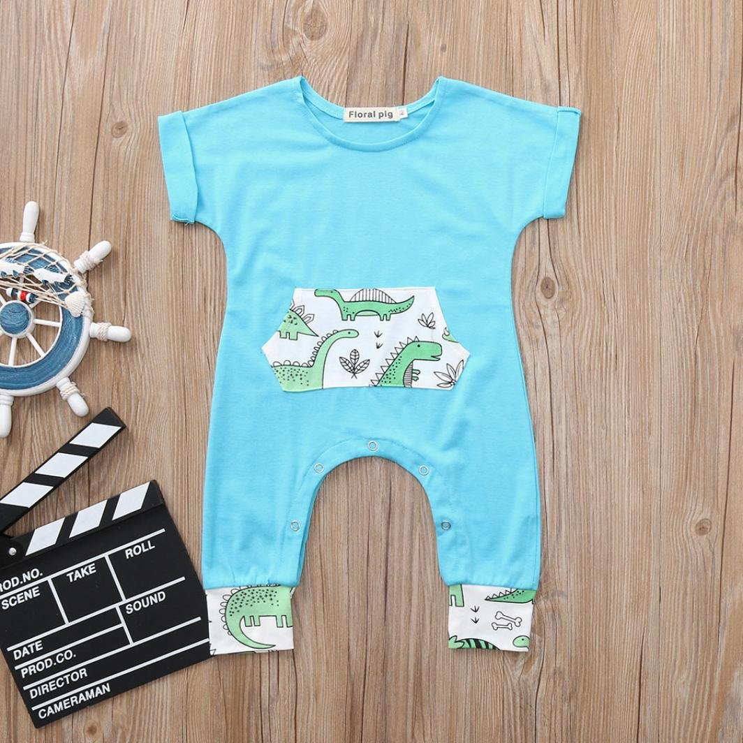 KaiCran Baby Layette Sets Newborn Baby Boys Girls Short Sleeve Cartoon Dinosaur Print Romper Jumpsuit Outfits Clothes Blue
