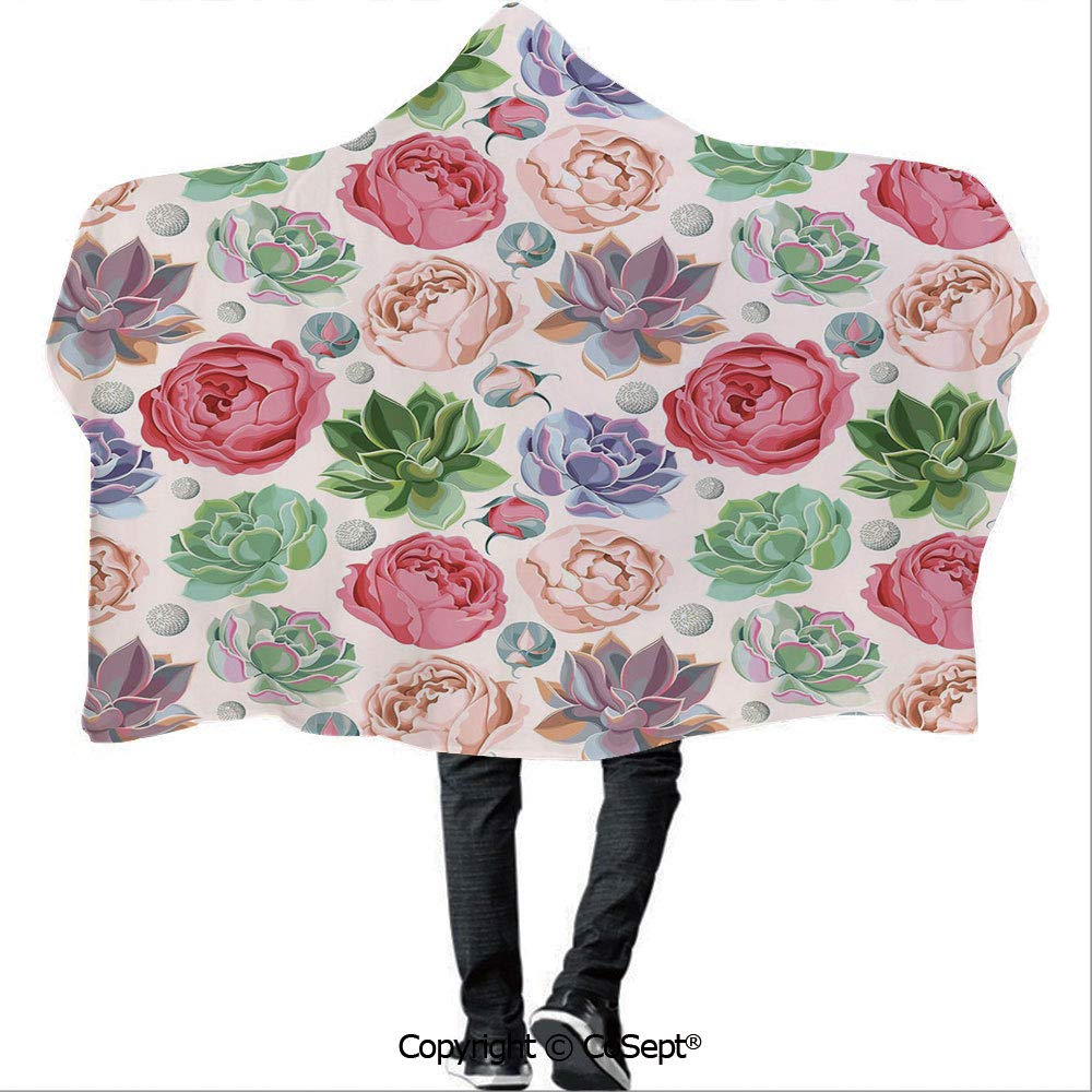 Wearable Hooded Blanket,Peony Roses and Succulent Colorful Pastel Blooming Petals Aquarelle Botanical Decorative,Warm Cozy Throw Blanket (59.05x78.74 inch),Multicolor