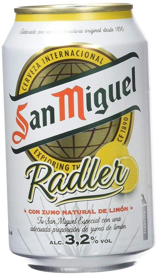 San Miguel Cerveza Nacional con Zumo Natural de Limón - Pack de 12 Latas x 330
