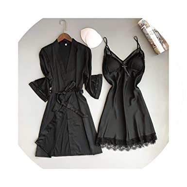446eb96d10c9 Women Sleepwear Robe Silk Bathrobe Bridesmaid Robes Sexy Ladies Nightwear Robe  Set