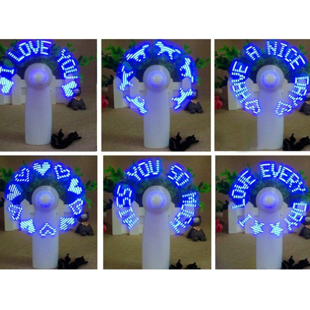 Flash LED USB Mini ventilador Uso en casa de viaje oficina patr/ón al azar Super silencioso ventilador de escritorio de refrigeraci/ón Ventilador de mano funciona con pilas