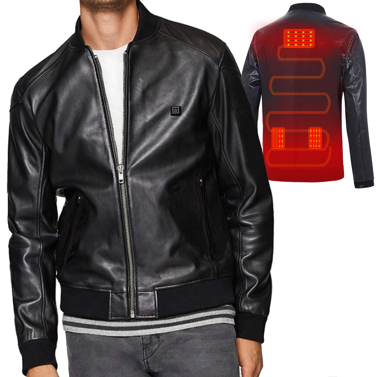 Heating Clothes Amazon Com >> Vinmori Heated Jacket Leather Motorcycle Jacket Usb Heated Clothing No Battery
