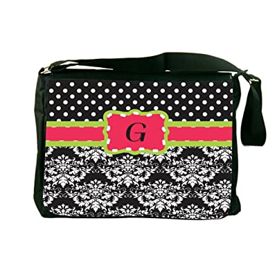 "Rikki Knight Initial ""G"" Pink Green Black Damask Dots Design, Messenger School Bag (mbcp-cond44427)"