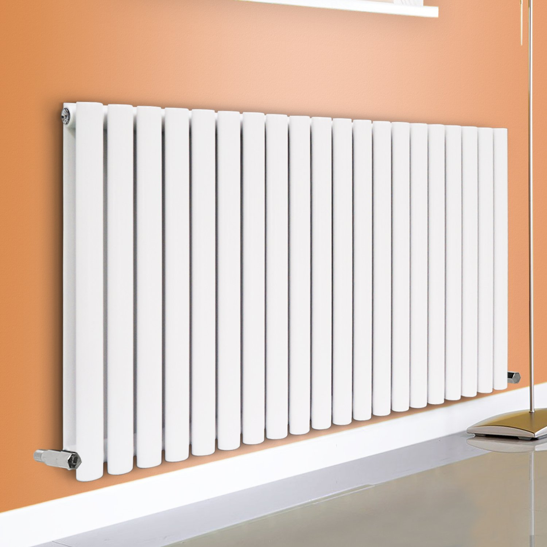 NRG Horizontal 600x1416 Oval Column Designer Radiator Central Heating Double Panel White