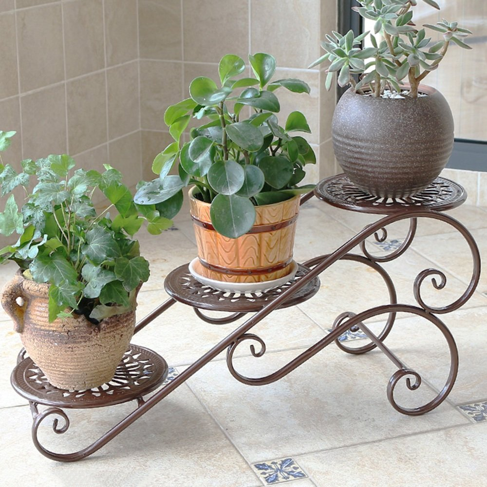 LJHA huajia Iron Flower Rack Multilayer Balcony Flower Shelf Living Room Desktop Flower Pot Rack Floor-Style Office Inside and Outside The Small Flower Rack (3 Colors Optional) (Size Optional) by GYH Flower stand