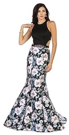 May Queen MQ1526 Mermaid Floral Print Prom Dress (2, Black/Multi)