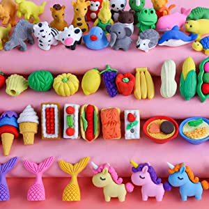 3 otters 75PCS Mini Puzzle Eraser Take Apart Erasers, Fruit and Vegetable Eraser Pencil Erasers for Kids Classroom Prizes Homework DIY Toys