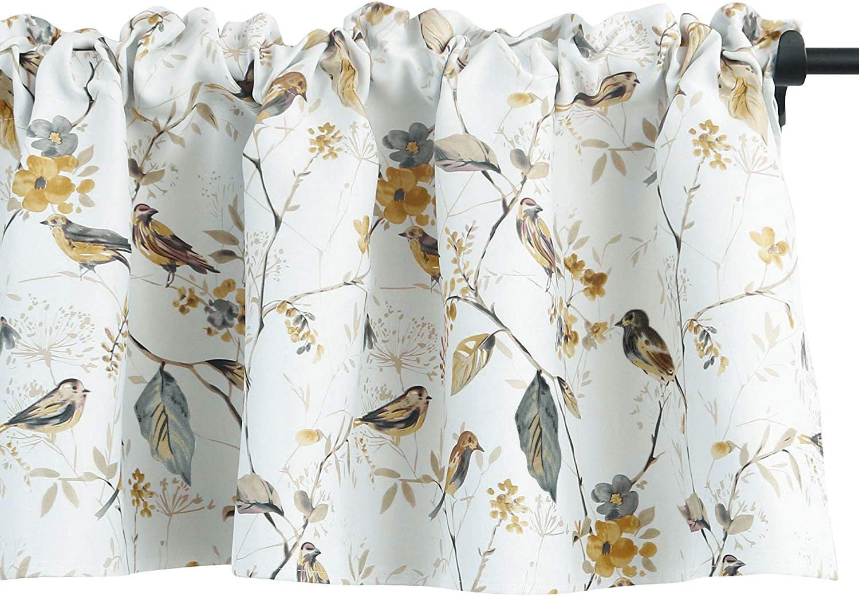 VOGOL Lovely Birds Vines Printed Window Curtains Valance, Pocket Valances for Windows for Kitchen Farmhouse, 52 x 18 Inch (Bird-Grey)
