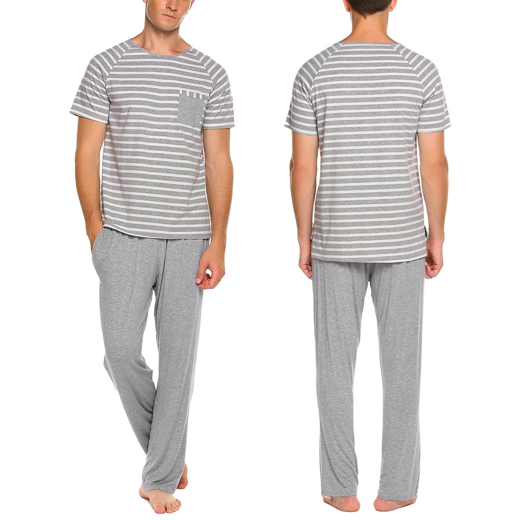 Ekouaer Men's Summer Sleepwear Short Sleeve Striped Cotton Top and Pants Pajama Set (Gray S)