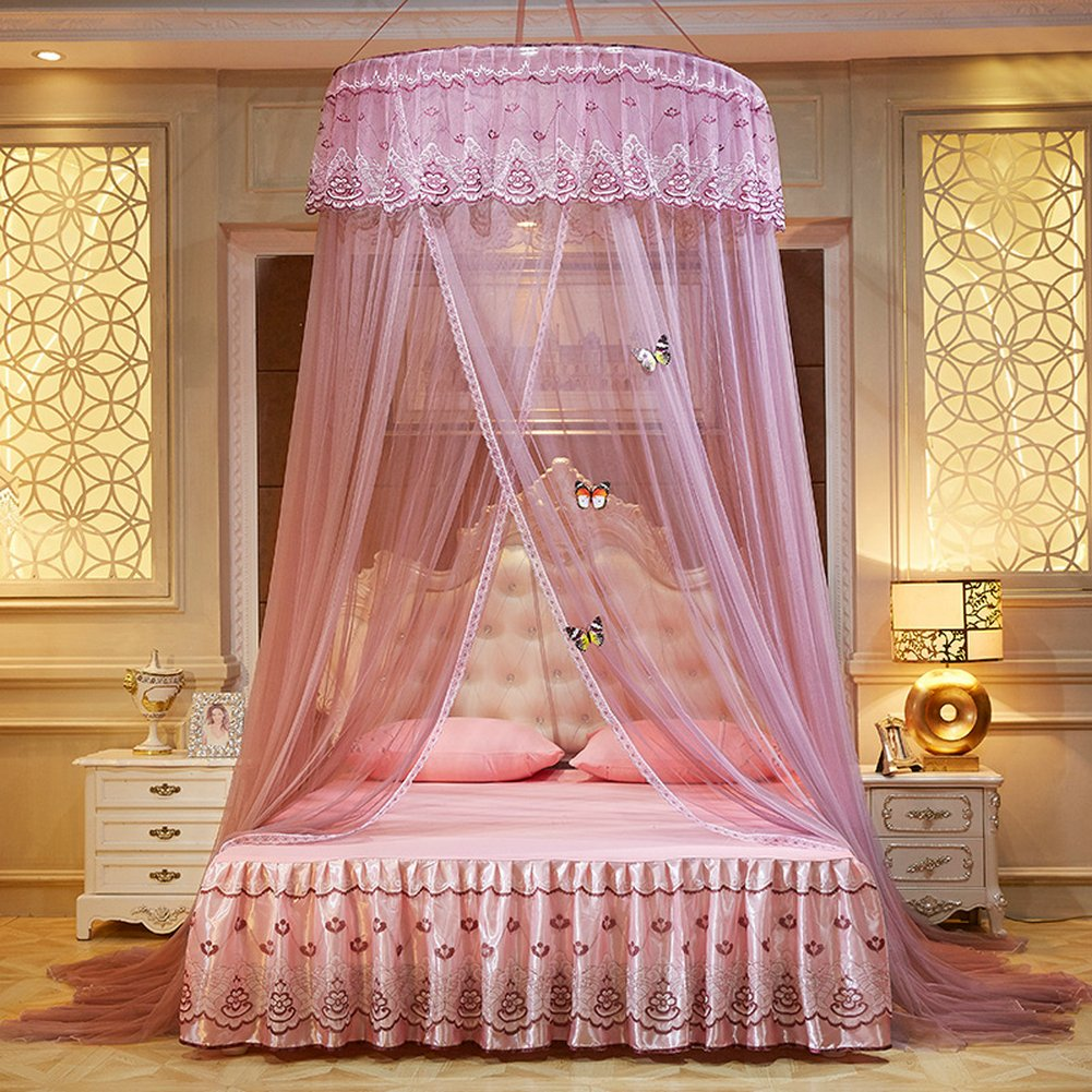 WLHOPE Mosquito Net Canopy Ceiling Stylish Lace Princess Butterfly Dome Mosquito Net Diameter 1.2M Bed Cotton Cloth Tent Baby Kids Indoor Reading Play Games House Anti-Mosquito Insect Netting (Gray)