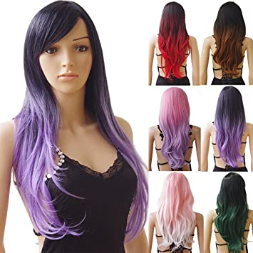 Womens Wigs Long Curly Full Head Wig Black Purple Mix Ombre Synthetic Hair  Natural Fashionable Heat 20ef9ff2e6