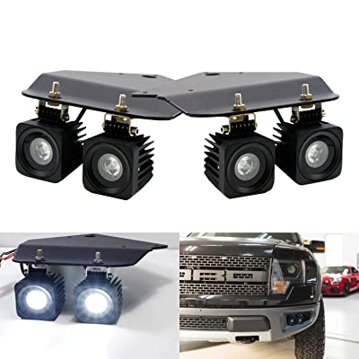 iJDMTOY Quad LED Fog/Driving Light Compatible With 2010-2014 Ford F-150 Raptor ONLY, Incl (4) 10W High Power CREE LED Pod Lamps, Lower Bumper Metal Mounting Brackets & Toggle Switch Wiring Harness: Automotive