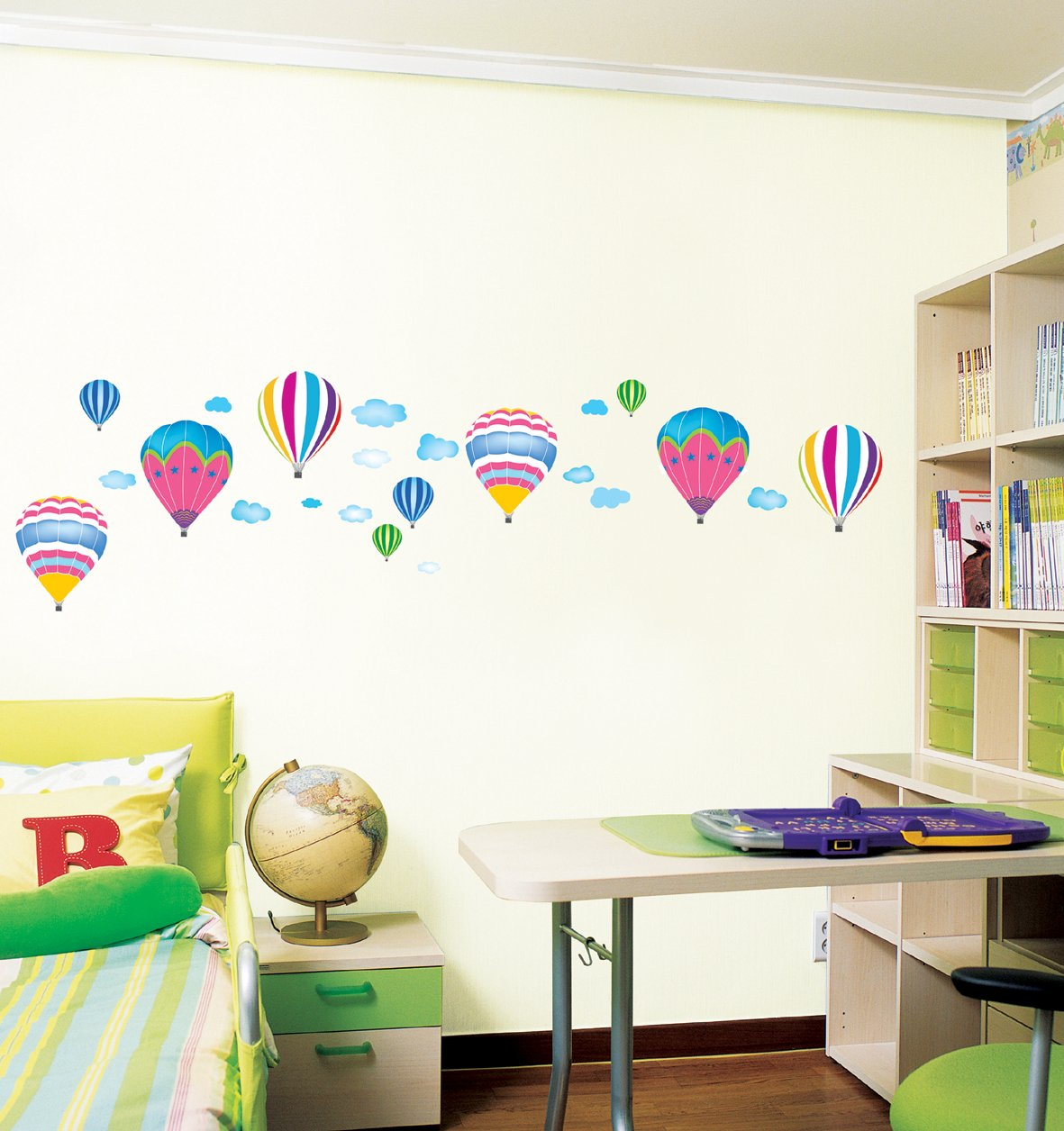 Amazon.com: Reusable Decoration Wall Sticker Decal   Hot Air Balloons In  The Sky: Home U0026 Kitchen