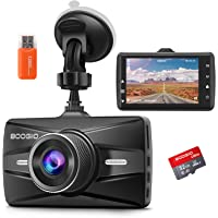 Dash Cam Front with 32G SD Card, BOOGIIO 1080P FHD Car Driving Recorder 3'' IPS Screen 170°Wide Angle Dashboard Camera…