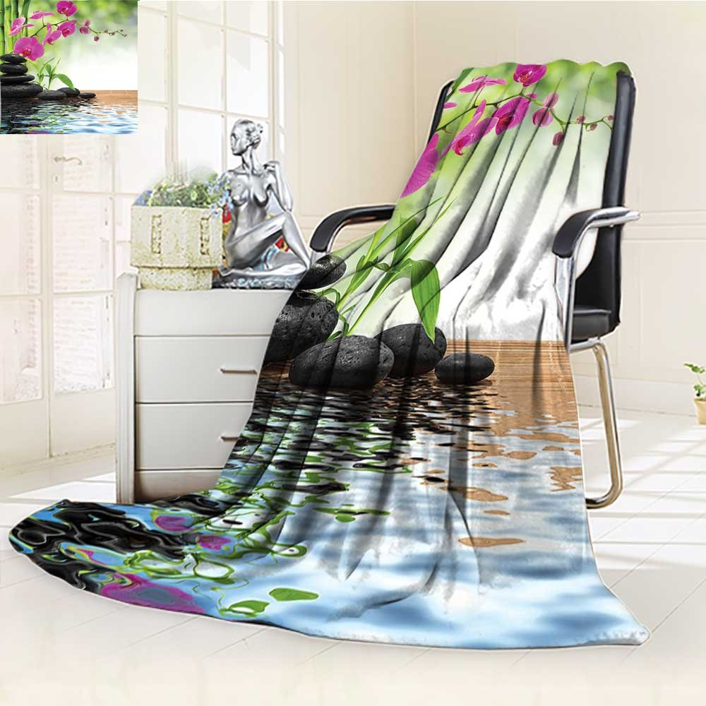 YOYI-HOME Digital Printing Duplex Printed Blanket Spa Decor Composition Bamboo Tree Floor Mat Orchid Stones Wellbeing Greenery Summer Quilt Comforter /W31.5 x H47