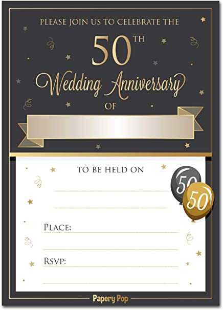 50th Wedding Anniversary Invitations With Envelopes Pack Of 30 50th Wedding Anniversary Invites Cards