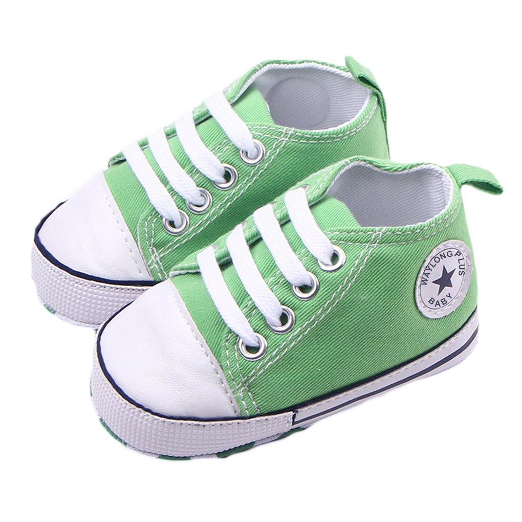 Pink, Size12 WAYLONGPLUS Infant Cute Canvas Sneaker Toddler Prewalker Anti-skid Soft Trainer Shoes