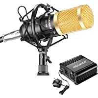 Neewer NW-800 Microphone and Phantom Power kit, Includes:NW-800 Microphone, 48V Phantom Power,Power Adapter, Shock Mount, Anti-wind Foam Cap, XLR Audio Cable and Microphone Power Cable