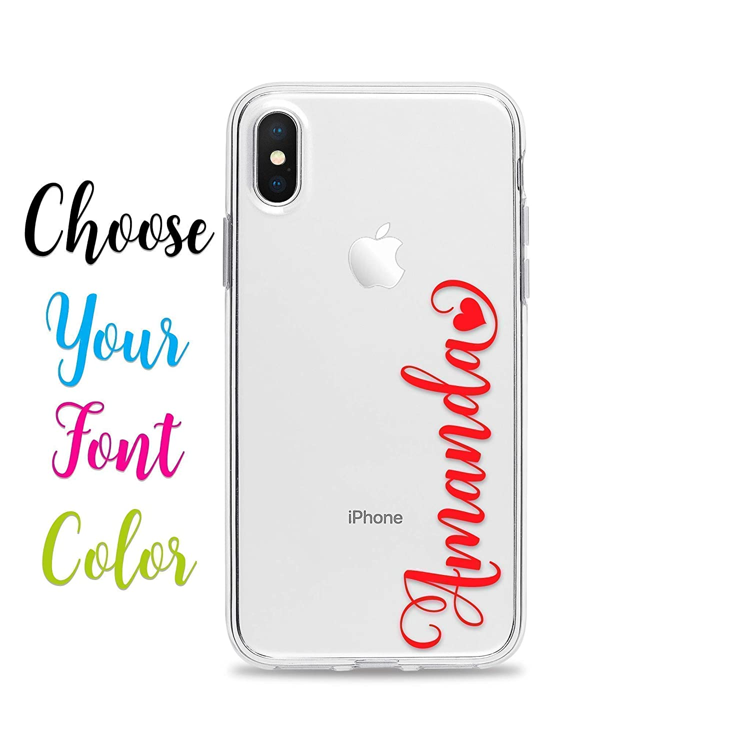 iPhone X Personalized Name Case for iPhone XS 10 8 Plus 7 6s 6 SE 5s 5 Samsung Galaxy S9 S8 S7 edge S6 Slim Flexible Clear TPU Rubber