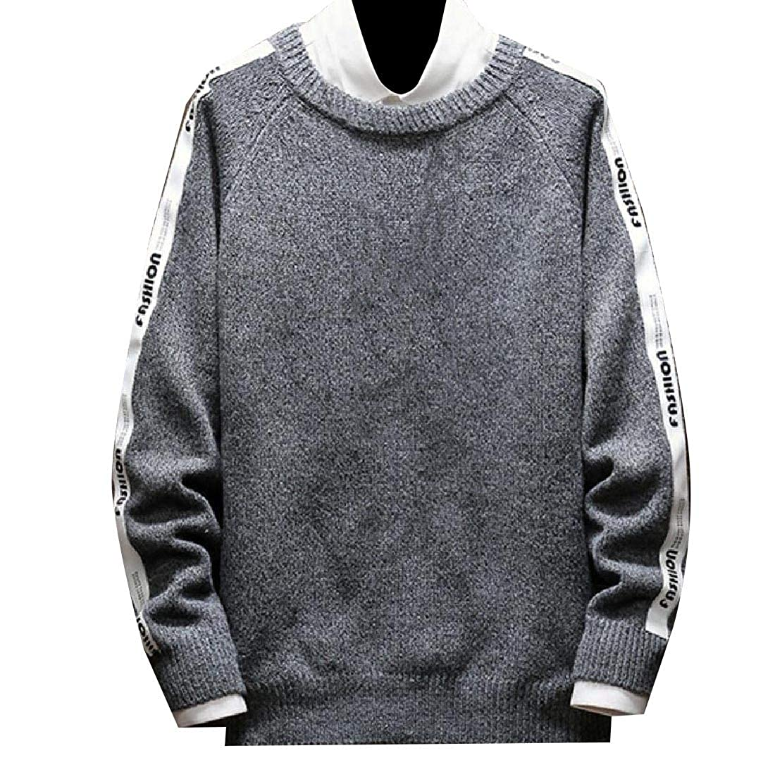 YUNY Mens Plus-Size Pullover Hit Color Loose Sweater Outwear Gray XL
