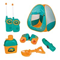 ToyVelt Kids Camping Tent Set Toys - Includes Pop Up Play Tent, Telescope, 2 Walkie...