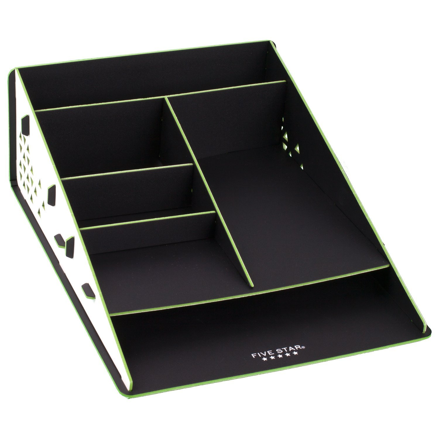 Five Star Desk Organizer, 6 Compartments, Wedge, White/Lime (73684)