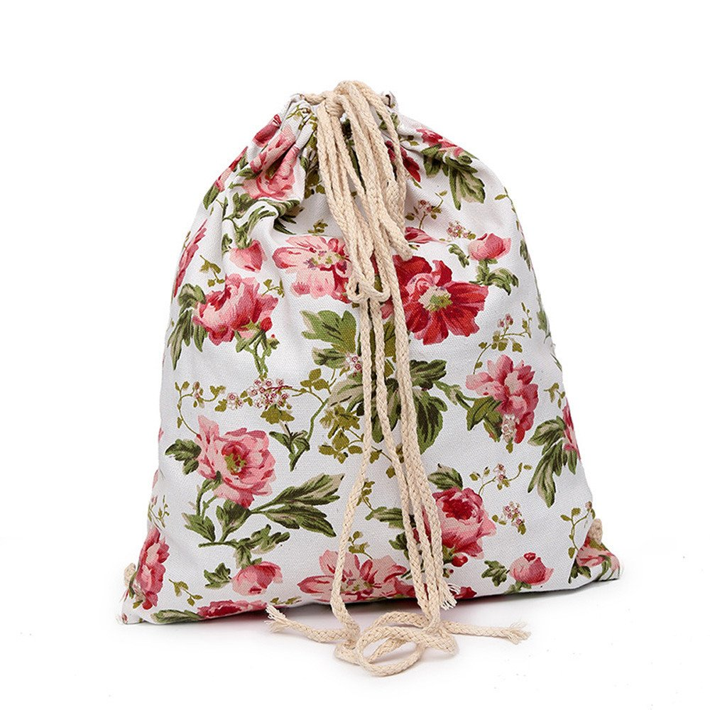 ❤️ Sunbona Schoolbag Print Canvas Drawst Hanged Sack Sport Beach Travel Outdoor Backpack Pouch Bag RDShoulder School Bag