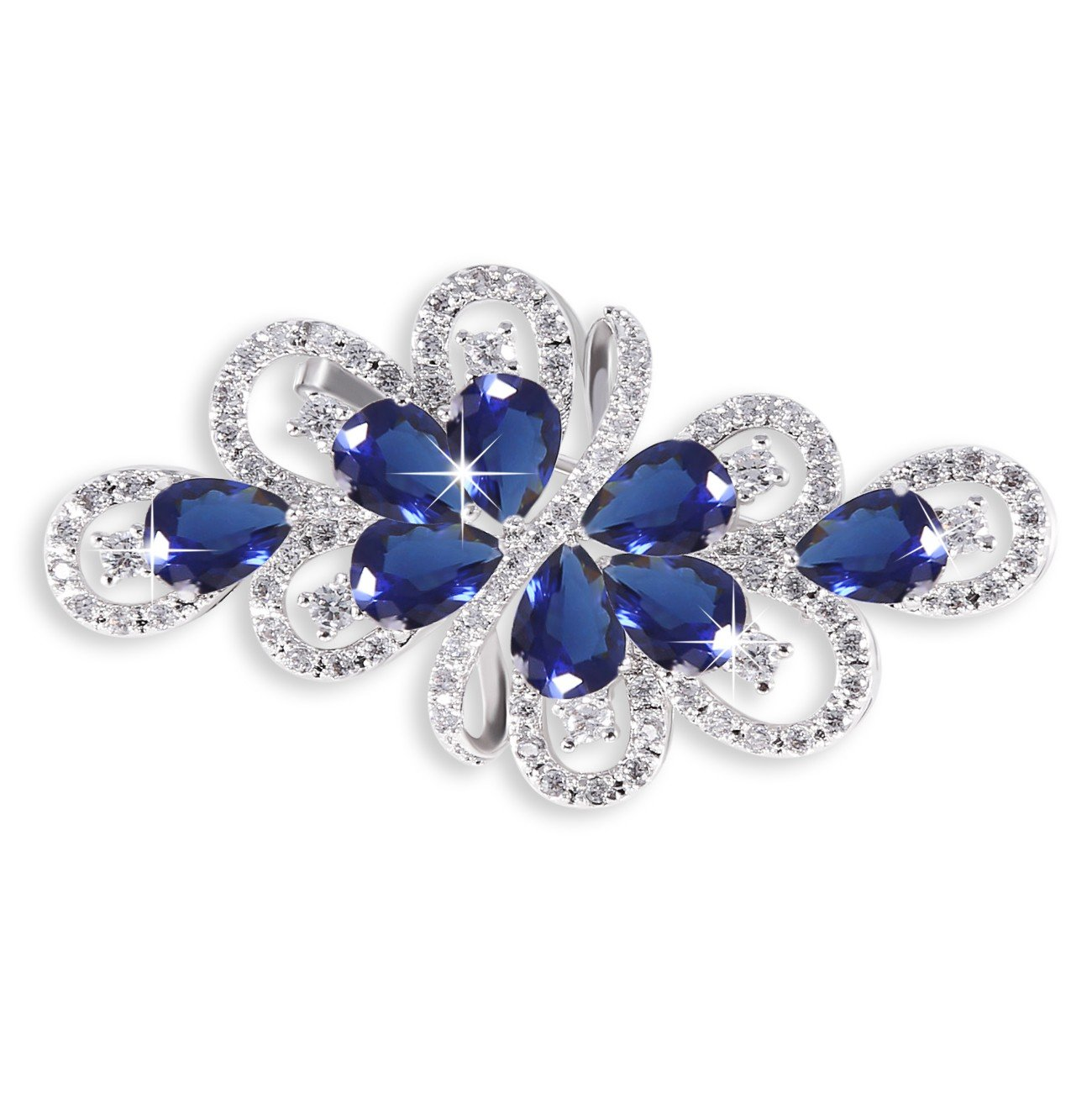 GULICX Blue Ribbon Bridal Silver Tone Brooch Bouquet Cubic Zirconia Wedding Jewelry