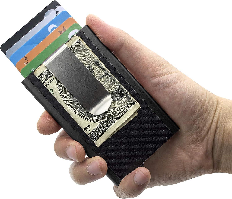Fashion Leather Metal Aluminium Card Holder With Money Pocket Rfid Blocking Id Bank Cradit Card Wallet,Orangefull