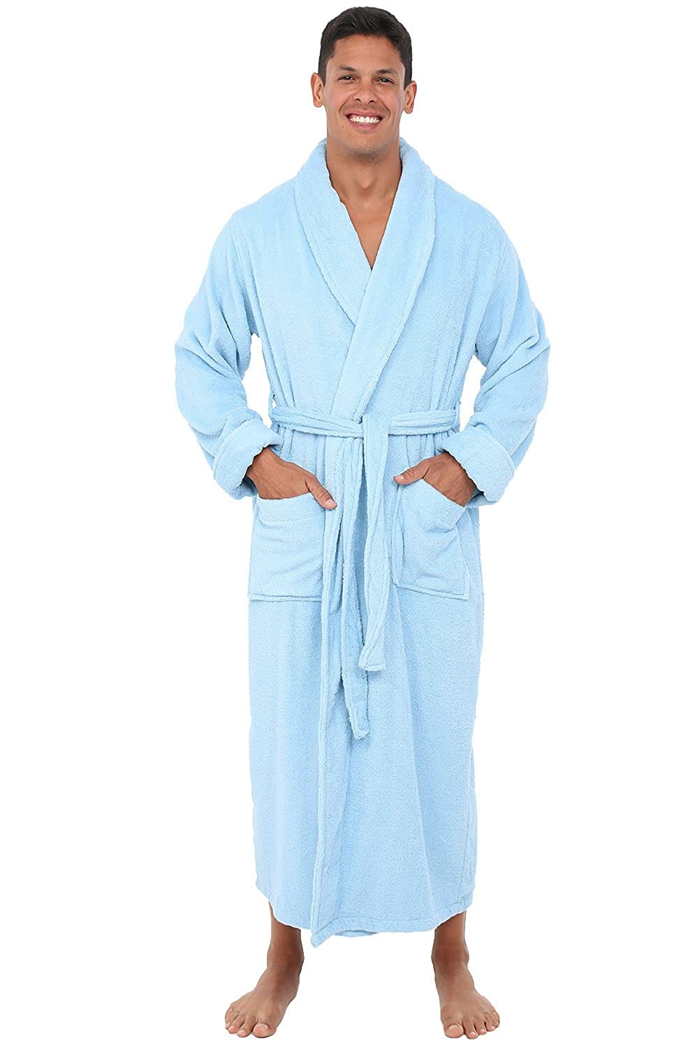 Alexander Del Rossa Mens Turkish Terry Cloth Robe, Long Cotton Bathrobe A0126-MEN