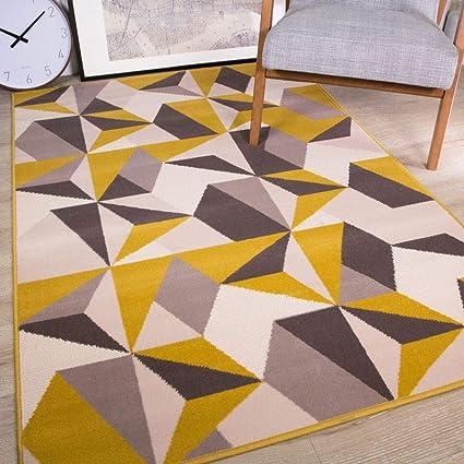 The Rug House Ocre Moutarde Jaune Gris Beige Geometrique