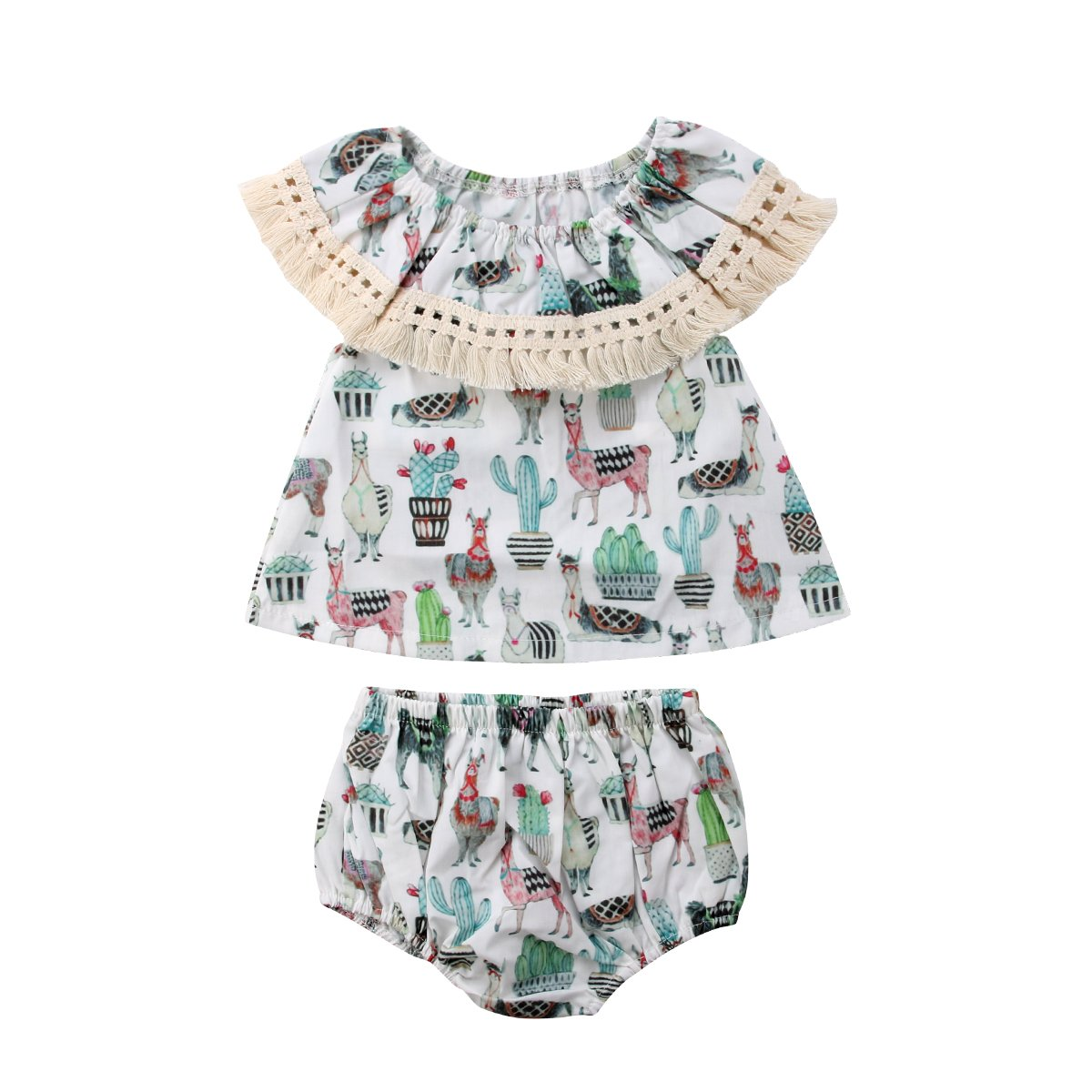 Infant Toddler Baby Girls Summer Clothes Set Animal Print Tassle Top Dress Bloomers Playwear Outfits